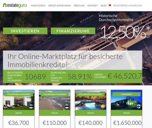 Startseite der Immobilien Crowdinvesting EstateGuru