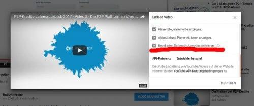 youtube erweiterten Datenschutzmodus aktivieren