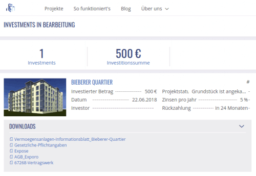 Exporo Crowdinvesting Projekt