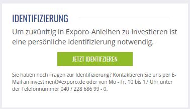 Exporo Identifizierung für Anleihen
