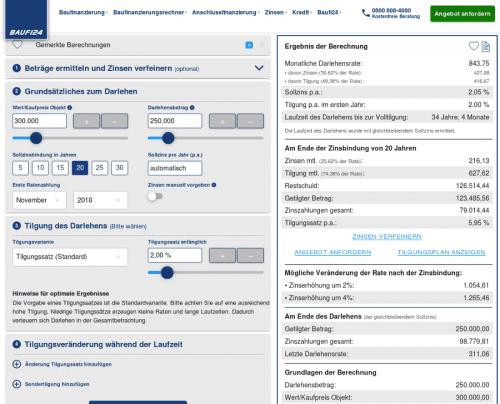 Baufinanzierungsrechner von Baufi24