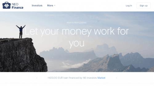 Die Startseite der P2P Plattform NEO Finance - P2P Kredite