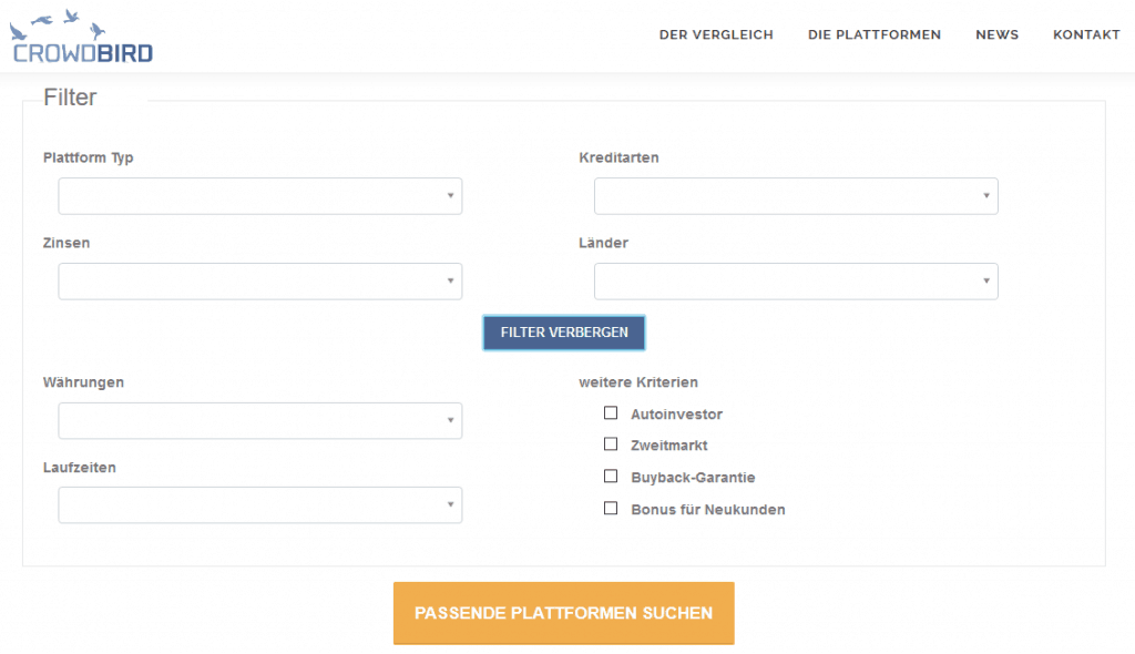 Crowdbird-mit-Filtern-die-passende-P2P-Plattform-finden