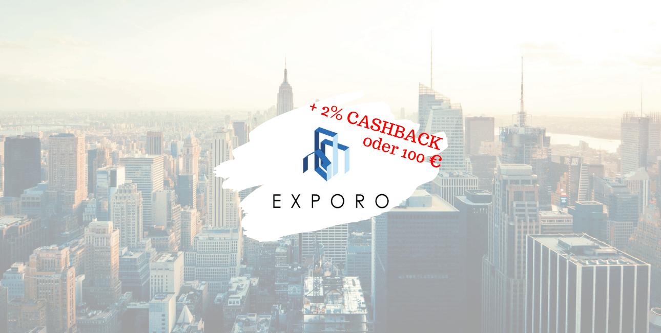 exporo belohnt deine Diversifikation mit einem Cashback Bonus