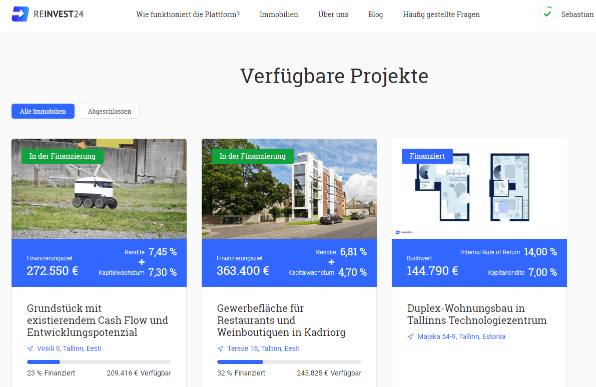 die webseite von reinvest24