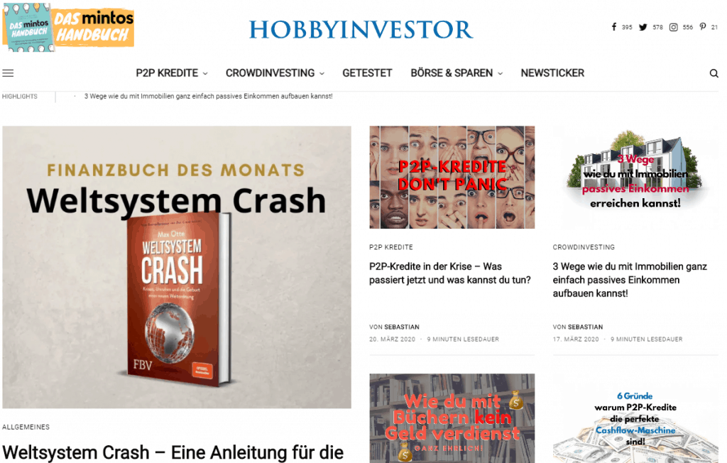 Die Startseite von meinem Blog