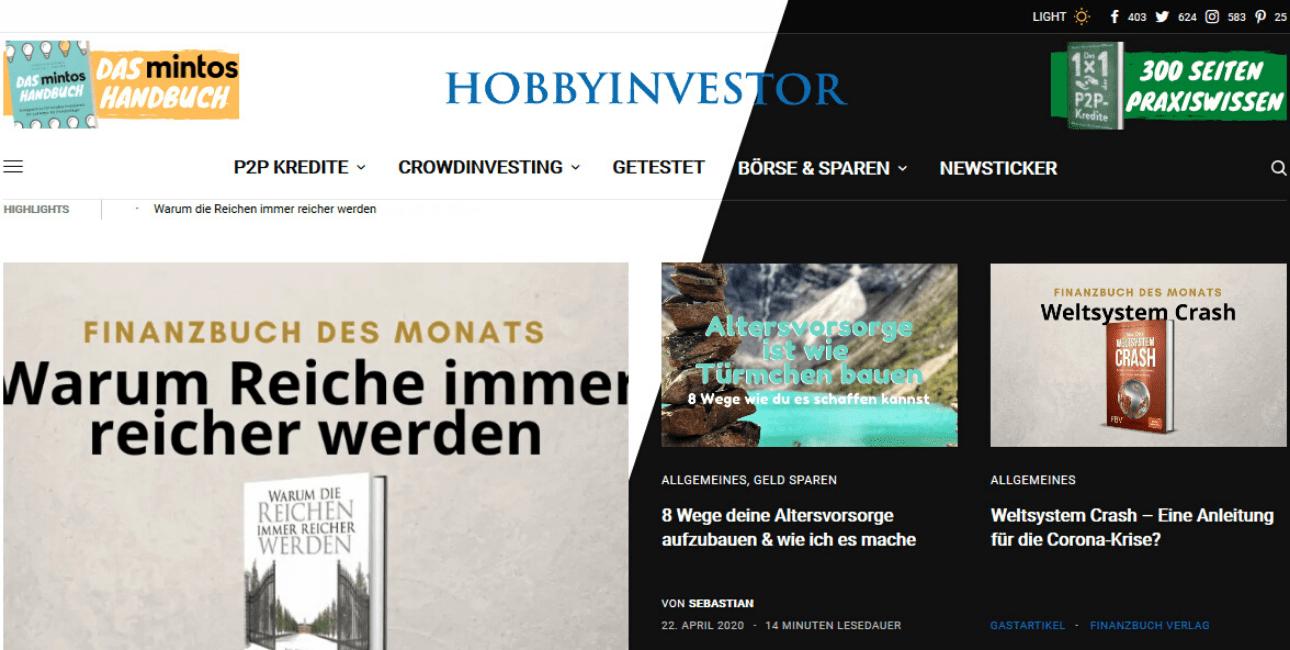 der Hobbyinvestor jetzt mit Dark Mode
