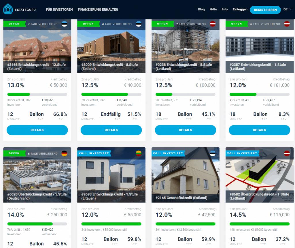 Aktuelle Immobilienprojekte auf EstateGuru