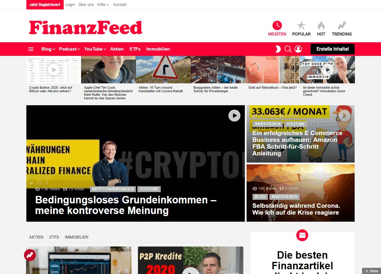 Finanzfeed-Startseite