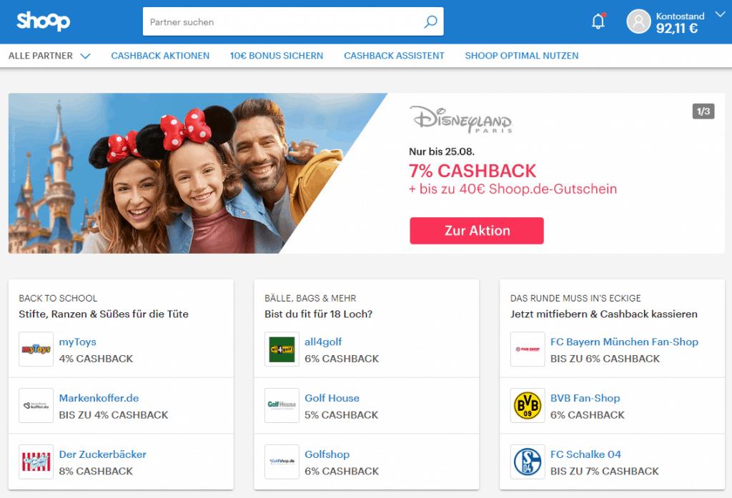 Die Startseite von Shoop - dem Cashback Portal