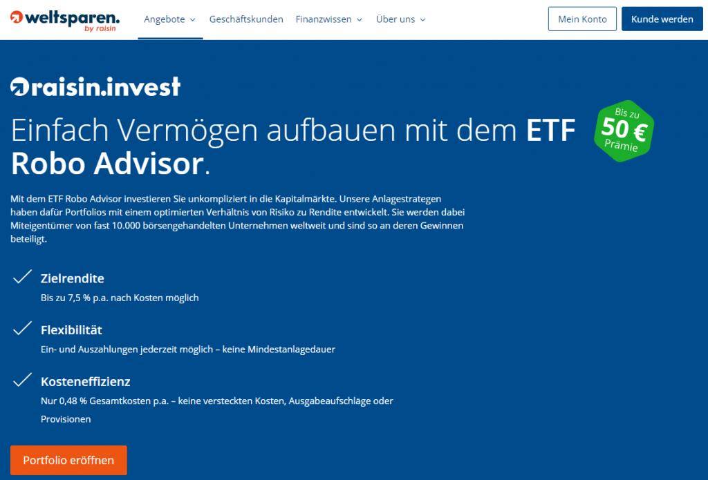 Der ETF Robo Advisor von raisin invest